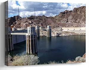Wall Art Canvas Print Photo Artwork Home Decor (24x16 inches)- Lake Mead Reservoir Hoover Dam Nevada Concre