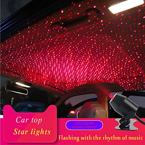 Mleslie 2019 Romantic Auto Roof Star Projector Lights, Flexible Romantic Galaxy USB Night Lamp Fit All Cars Ceiling Decoration Light Interior Ambient Atmosphere -No Need to Install (Red)