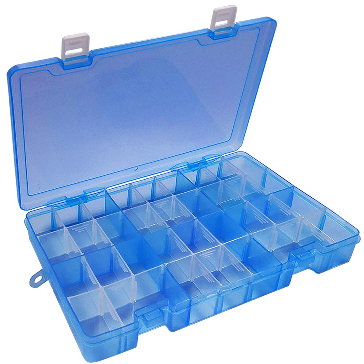 White 36 Grids DUOFIRE Plastic Organizer Container Storage Box Adjustable Divider Removable Grid Compartment Big Clear Slot box For Jewelry Beads Earring Container Tool Fishing Hook Small Accessories