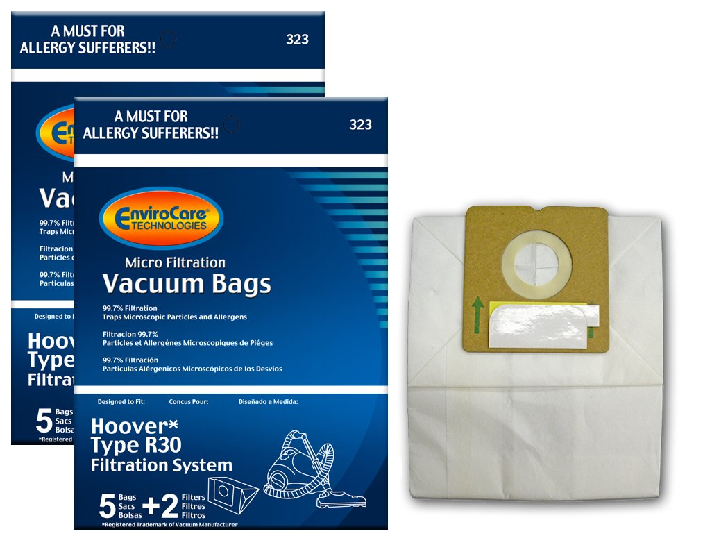 EnviroCare Replacement Vacuum Bags for Hoover R30 Canisters. 10 bags and 4 Filters