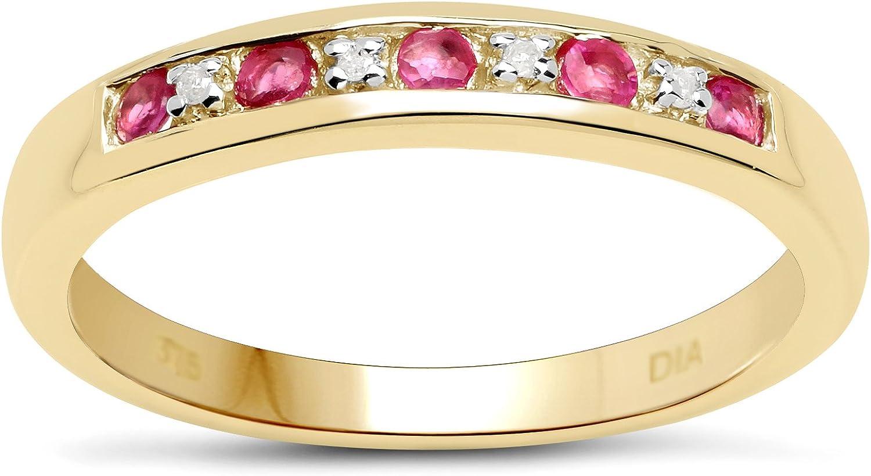 La Colección de Anillo de diamantes: 3mm ancho 9ct Oro 0.45ct Rubi y set Canal de Diamante, Anillo Eternidad Talla 6,8,9,10,11,12,13,15,16,17,19,20,21,22,24,25,26