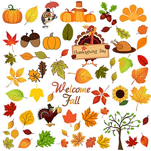 Woochic Autumn Harvest Happy Fall Leaves Stickers Thanksgiving Decorations, Maple Turkey Acorns Decals for Window Clings Gift Party Ornaments Kids School Home Party Supplies, 3 Sheets 67 Pcs