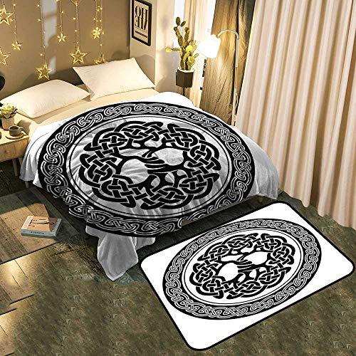 "Blanket Floor mat Two-pieceNative Celtic Tree of Life Figure Ireland Early Renaissance Artsy Medallion Design Black Better Deeper Sleep Blanket 30""x50""/Mat 17""x13"""
