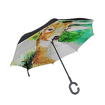 jstel doble capa puede ciervo verde Fores paraguas coches Reverse resistente al viento lluvia paraguas para