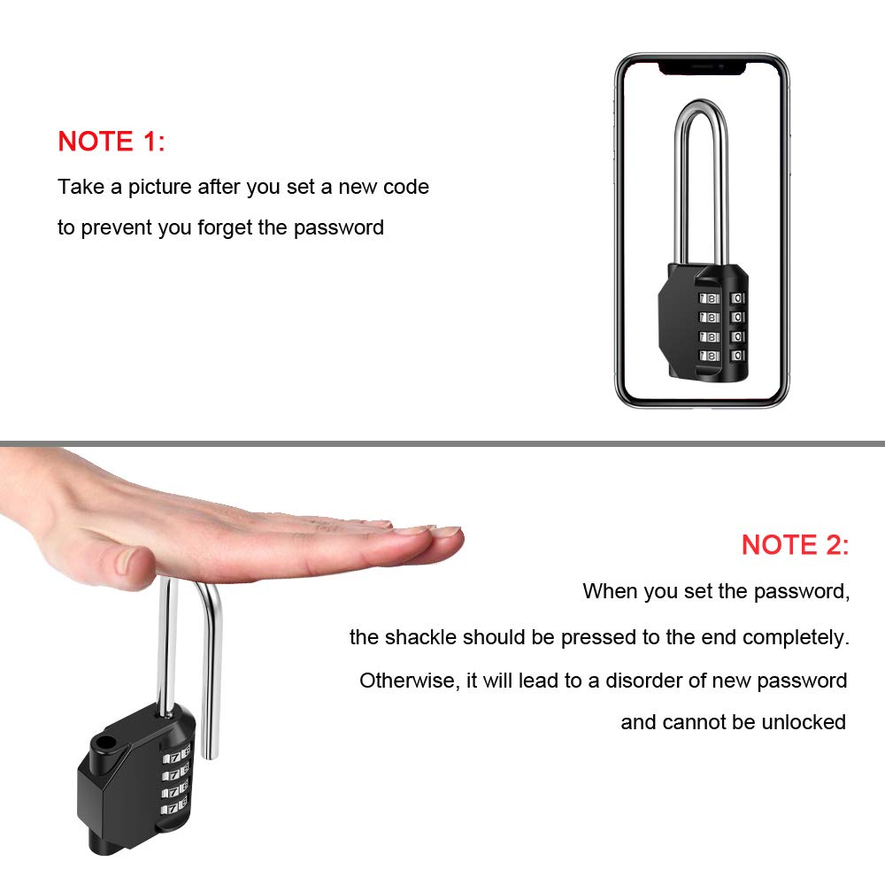 Disecu 4 Digit Combination Lock 2.5 Inch Long Shackle and Outdoor Waterproof Resettable Padlock for Gym Locker, Hasp Cabinet, Gate, Fence, Toolbox (Black,Pack of 2) by Disecu (Image #7)