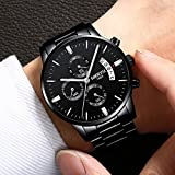 NIBOSI Mens Watches Luxury Fashion Casual Dress Chronograph Waterproof Military Quartz Wristwatches for Men Stainless Steel Band Black Color