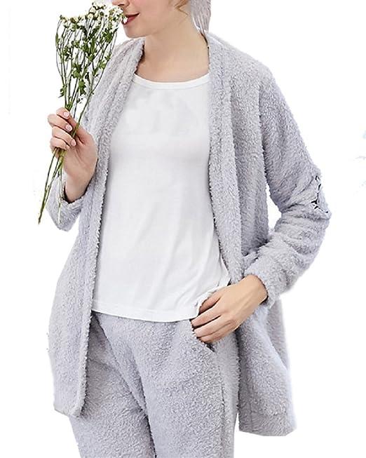 Conjunto de Pijama Manga Larga Estampado Ropa Interior Pijamas para Mujer Gris M