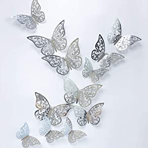 24Pcs Silver Butterfly Wall Sticker Decal 3D Metallic Art Butterfly Mural Decoration DIY Flying Stickers for Kids Bedroom Home Party Nursery Classroom Offices Décor (Leaves Silver 1)