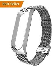Lomire Correa de Reloj Inteligente de Pulsera Ajustable de Acero Inoxidable para Xiaomi MI Band 3