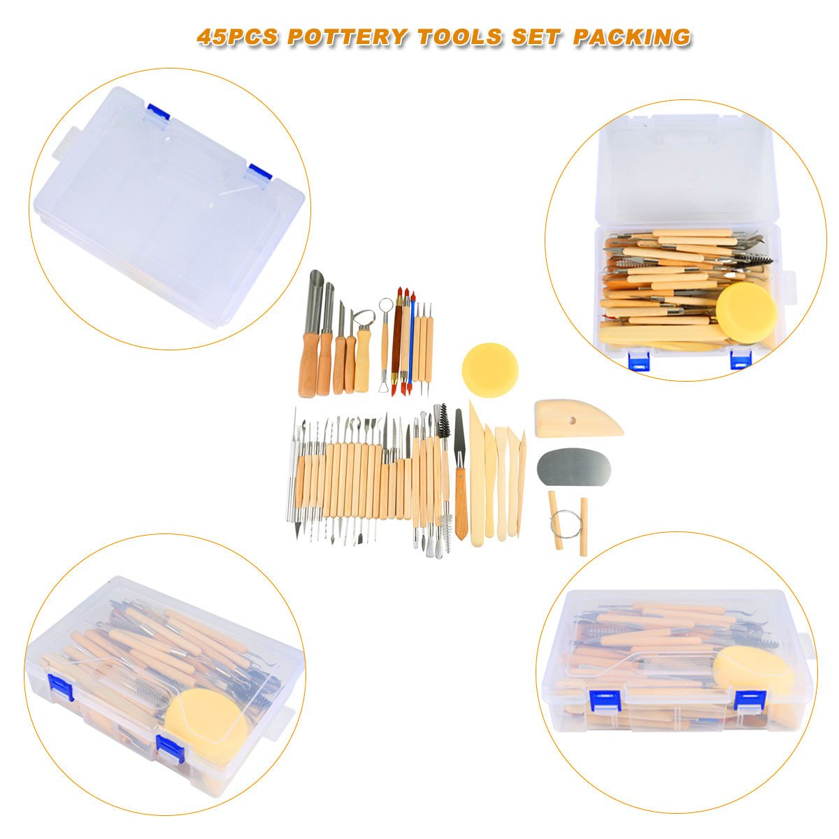 Hotab 45pcs Set Wooden Pottery & Clay Sculpting Tools with Plastic Case by Hotab (Image #6)