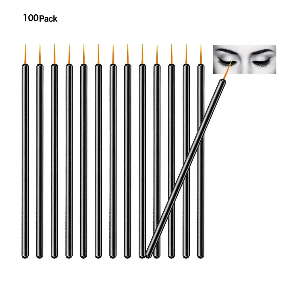 TygoMall 100pcs Disposable Eyeliner Brushes With Covers On the Hair Beauty Makeup Tools Wand Applicator (Size: 9cm, Thick: 0.2cm, Color Black)