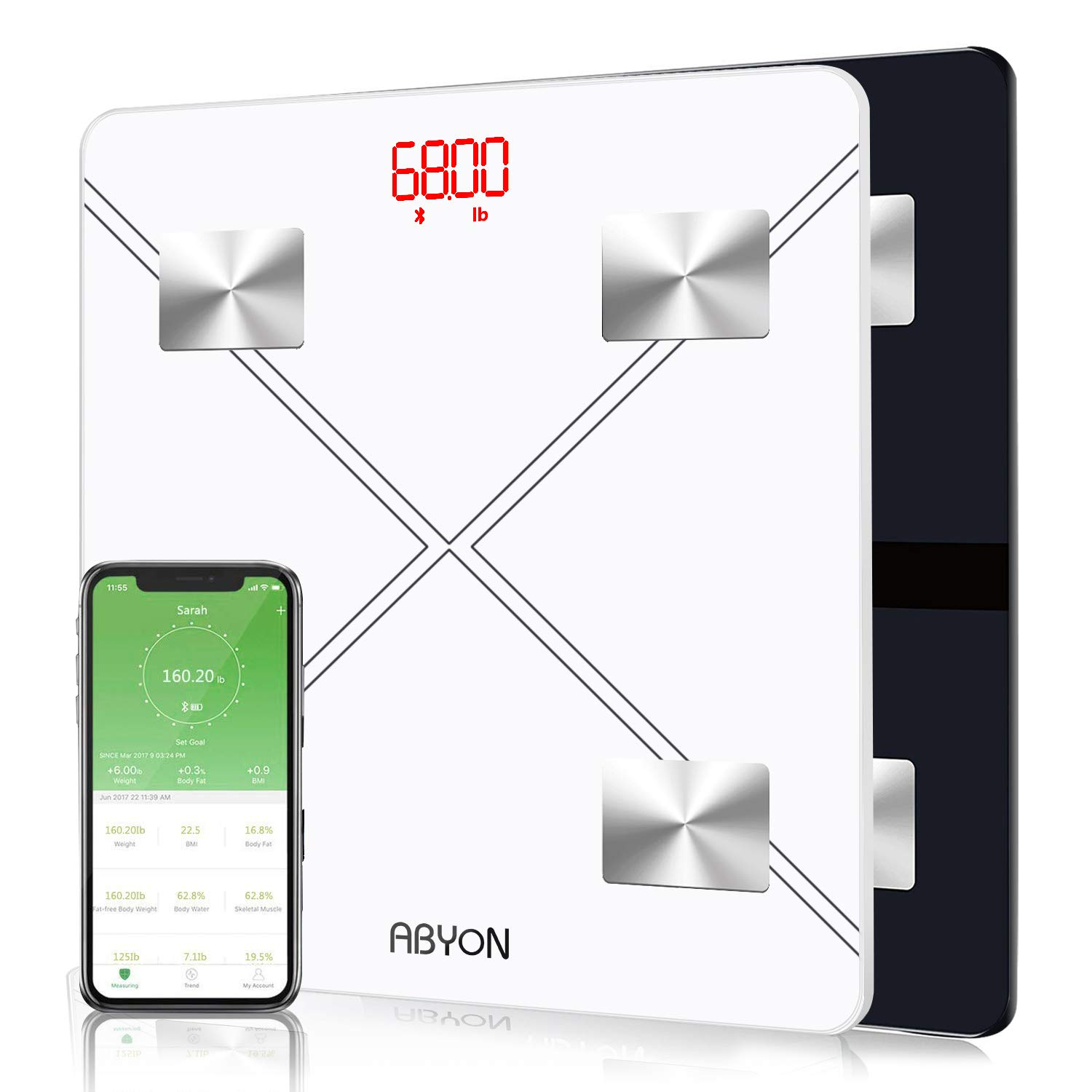 (2 PCS) Bluetooth Smart Scales Digital Weight and Body Fat Scale - Body Composition Analyzer with Smartphone APP Perfect for Your Fitness Journey,400 lbs by ABYON