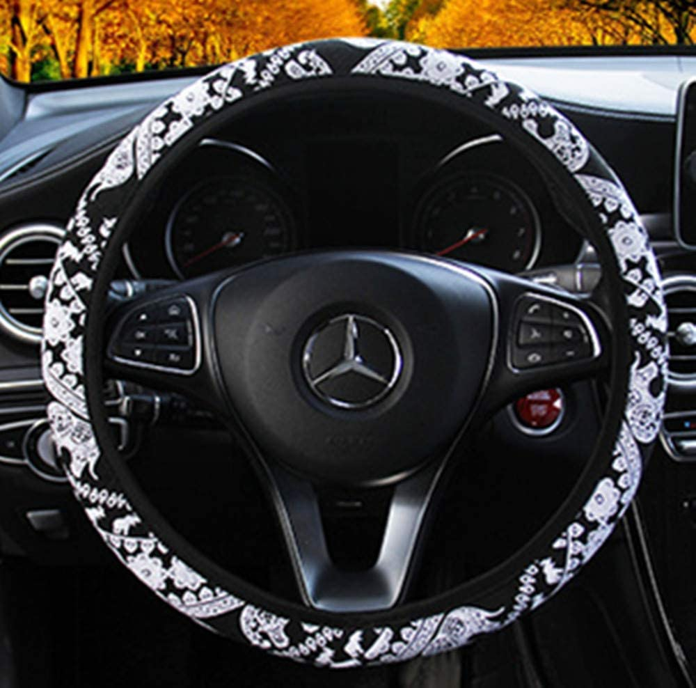 Elephant Pattern Anti-Slip Black Color Warm in Winter and Cool in Summer Breathable ZHOL Universal 15 inch Steering Wheel Cover Linen Odorless