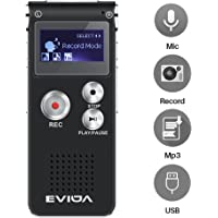 EVIDA 8GB Digital Voice Recorder Built in MP3 Music Player,Black Audio Dictaphone,Multifunctional Rechargeable Super Light Sound Dictaphone Player with Built-In 0.5W Clearly Speaker (8Gb)