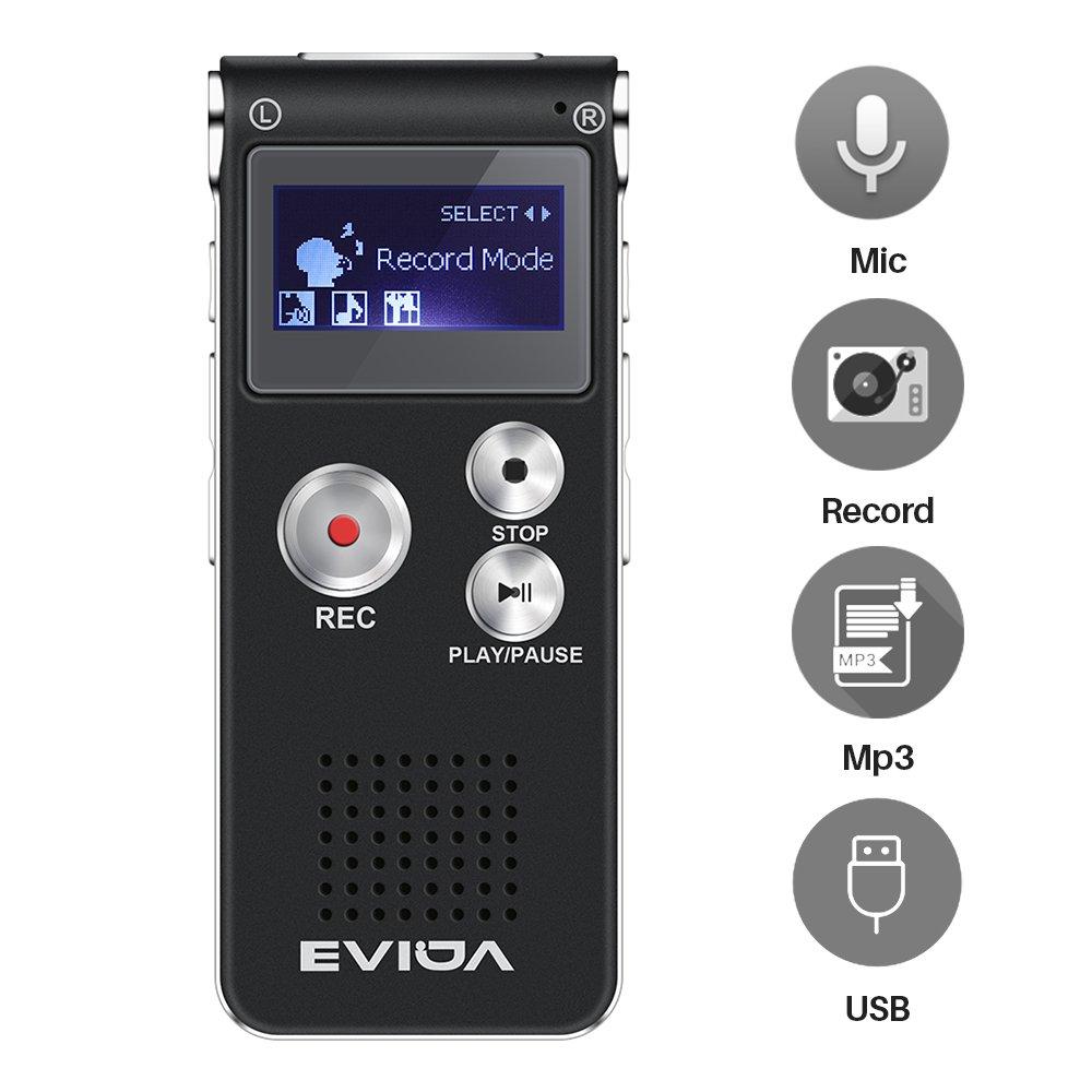 EVIDA Grabador de voz digital de GB Construido reproductor de música MP