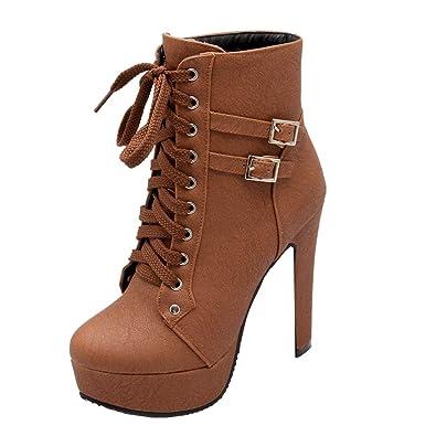 e0f905f191b6c YE Bottes Winter Boots Bottines Femme Plateforme Cuir Talon Haut Bloc à  Lacets Courte Chaude Chaussure
