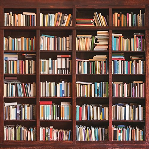 Leowefowa 6X6FT Bookshelf Backdrop Study Room Bookcase Interior Decoration Wallpaper School Library Vinyl Photography Background Kids Students Photo Studio Props