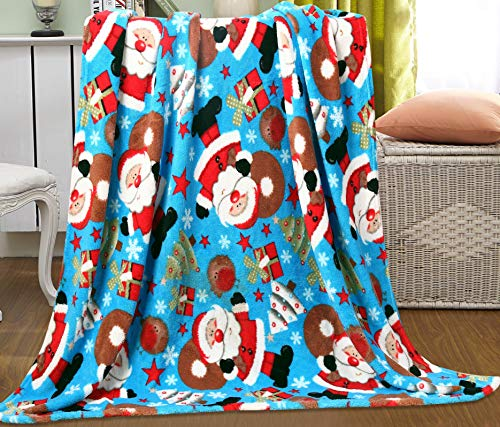 (Ultra Plush Fleece Velvet Touch Holiday Winter Christmas Cuddly Throw Blanket Gift NobleHouse - for Couch, Chair, Bed 50