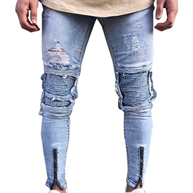 Gladiolus Vaqueros para Hombre Slim Fit Moto Pantalones Ver Destruido Desgarrar Agujeros