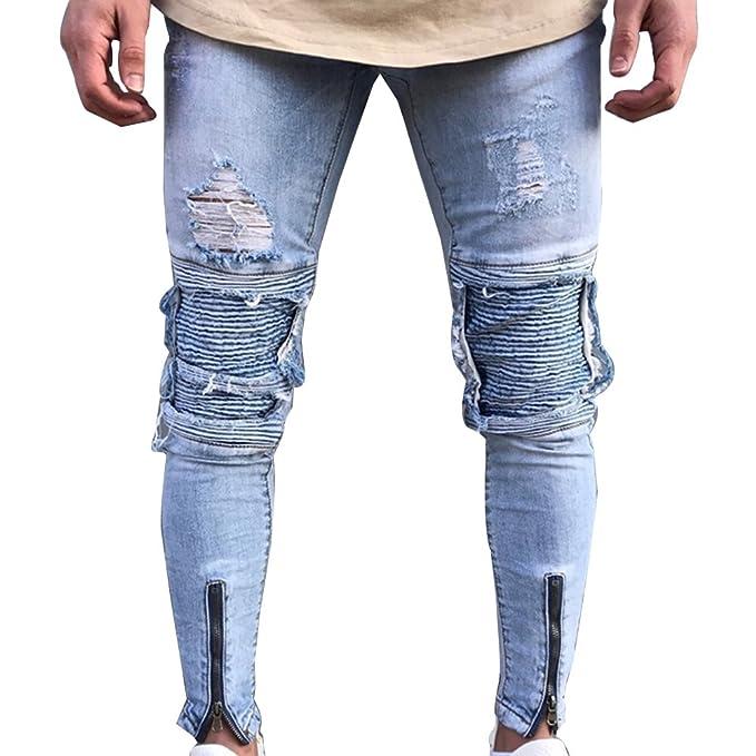 113e4369708 Gladiolus Vaqueros para Hombre Slim Fit Moto Pantalones Ver Destruido  Desgarrar Agujeros: Amazon.es: Ropa y accesorios