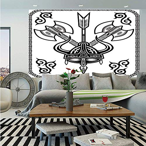SoSung Viking Wall Mural,Helmet with Horn Arrow Axe Antique War Celtic Style Medieval Battle Art Prints,Self-Adhesive Large Wallpaper for Home Decor 83x120 inches,Black White