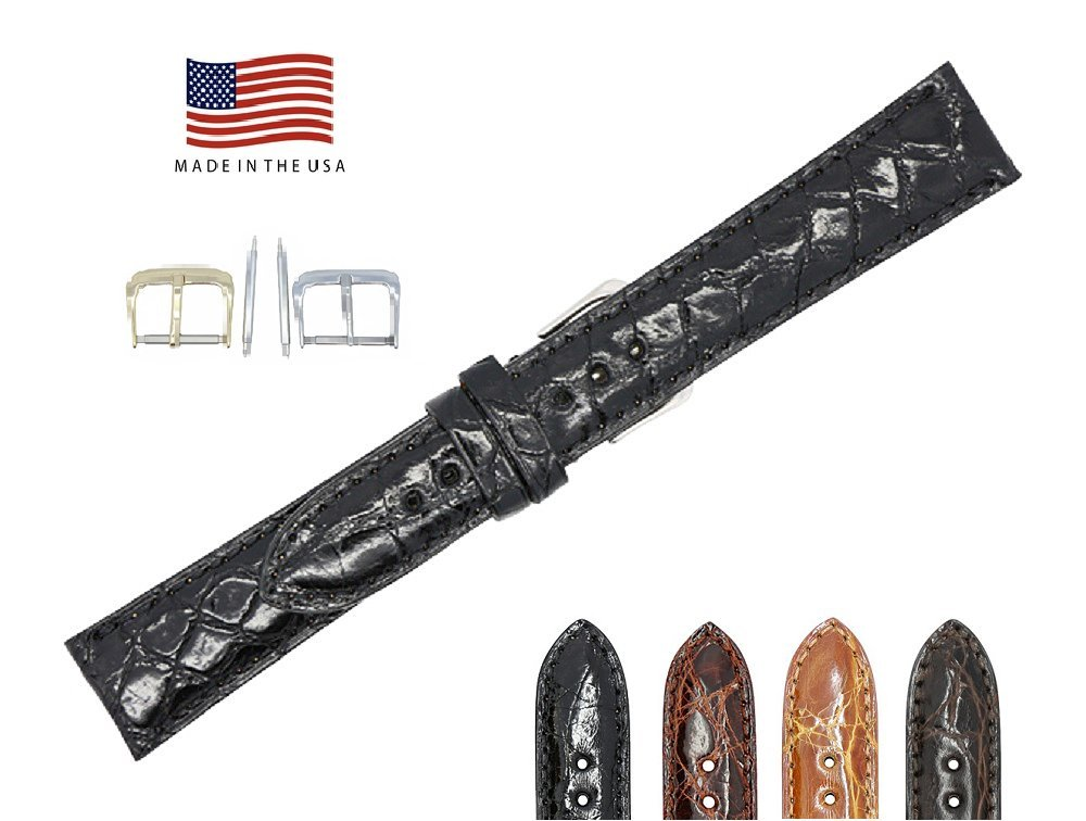 17mm Black Genuine Crocodile – Glazed Padded Stitched – American Factory Direct - Replacement Watch Band Strap - Gold & Silver Buckles Included – Made in The USA by Real Leather Creations FBA517