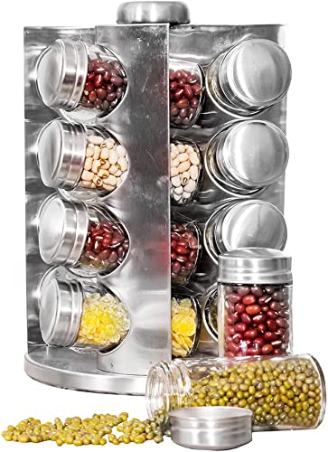 WhaleCreation Revolving 16-Jar Countertop Herb and Spice Rack Tower Organizer for kitchen Spices Not Included, Jar Labels Included Fan