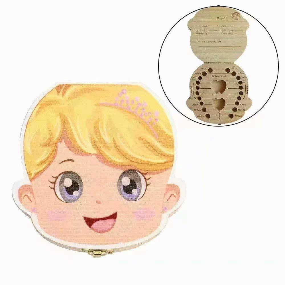 Waymeduo Organisateur de boîte à dents Les dents de lait de bébé sauvent Coffret de rangement en bois pour Enfants garçon Fille Version en français