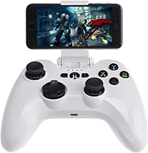 Mobile Gamepad, Megadream MFi iOS Gaming Wireless Controller Joystick Compatible with iPhone Xs XR X 8 8Plus 7 7Plus 6S 6, iPad Air, iPad Mini 4, iPad Pro, Apple TV, iPod Touch 5 – White