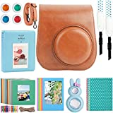 Kaita Instant Camera Accessories Bundle for Fujifilm Instax Mini 9/8 Instant Film Camera. with Protective Case/Strap/Photo Album/Frame/Selfie Len/Filters/Stickes - Brown