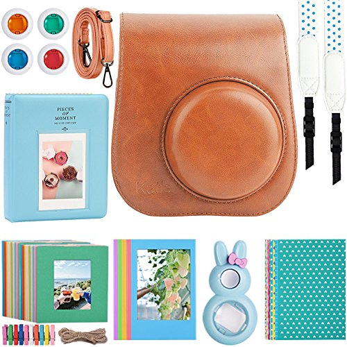 Kaita Instant Camera Accessories Bundle for Fujifilm Instax Mini 9/8 Instant Film Camera. with Protective Case/Strap/Photo Album/Frame/Selfie Len/Filters/Stickes - Brown by Katia