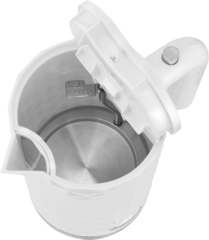 Hlix Ketlia - Hervidor Eléctrico Sin Cables de Color Blanco Diamante, Rá Pida Ebullición 3.000W 1,5L con Base Giratoria de 360 Grados y Filtro Lavable.: Amazon.es: Hogar