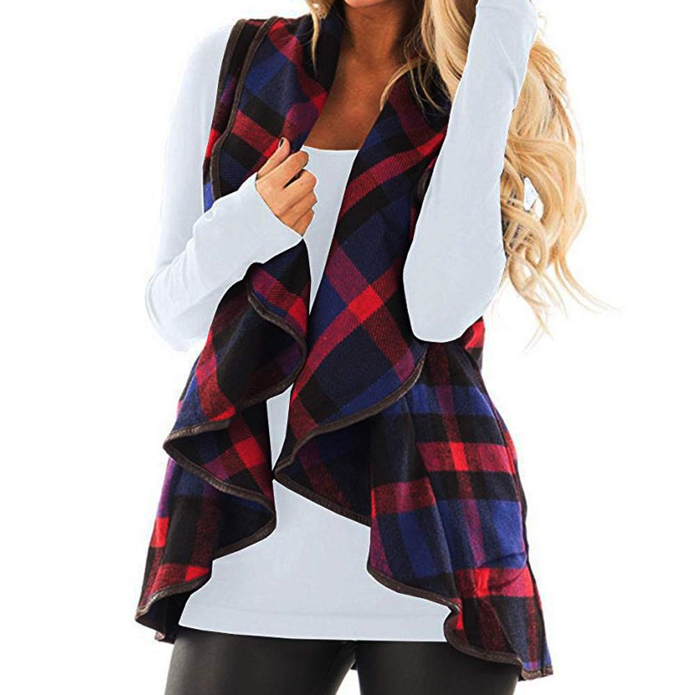 Big Sale!! Womens Cardigans Vest Plaid Sleeveless Lapel Open Front Cardigan Sherpa Jacket Pockets
