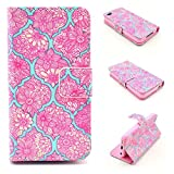 iPhone 4S Case,iPhone 4 Case, Kmety Pink Flowers Pattern Design Pu Leather with wallet Case for Apple iPhone 4S