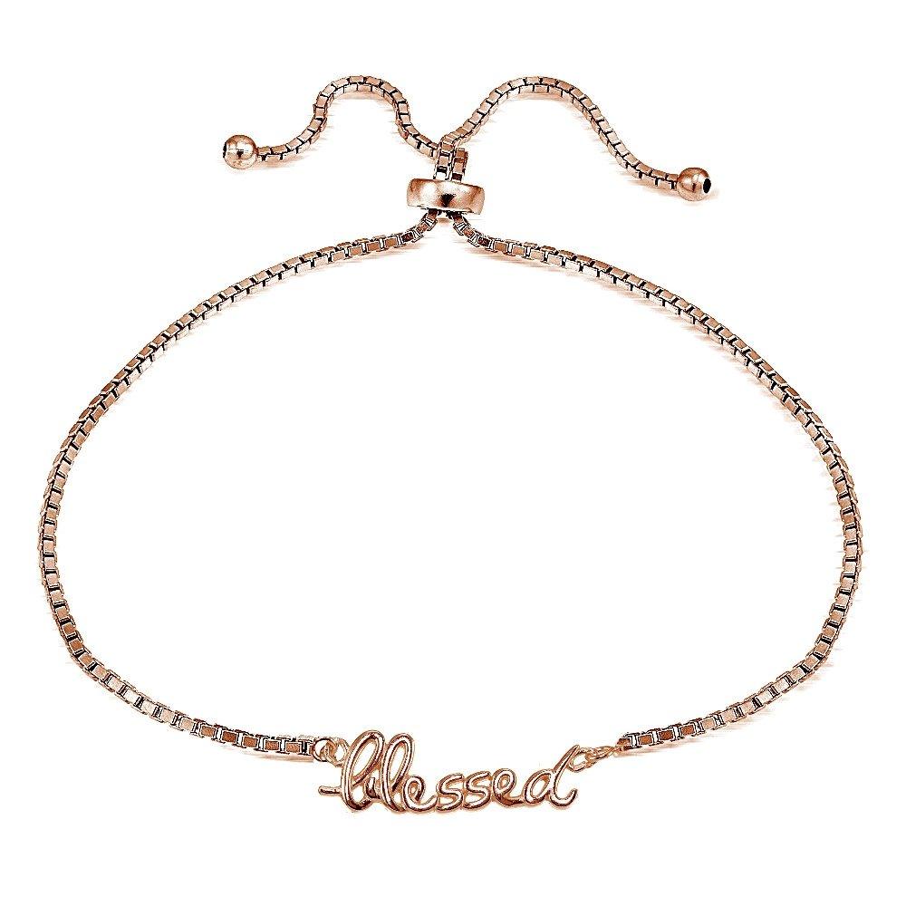 Sterling Silver BLESSED Polished Adjustable Bracelet Hoops & Loops