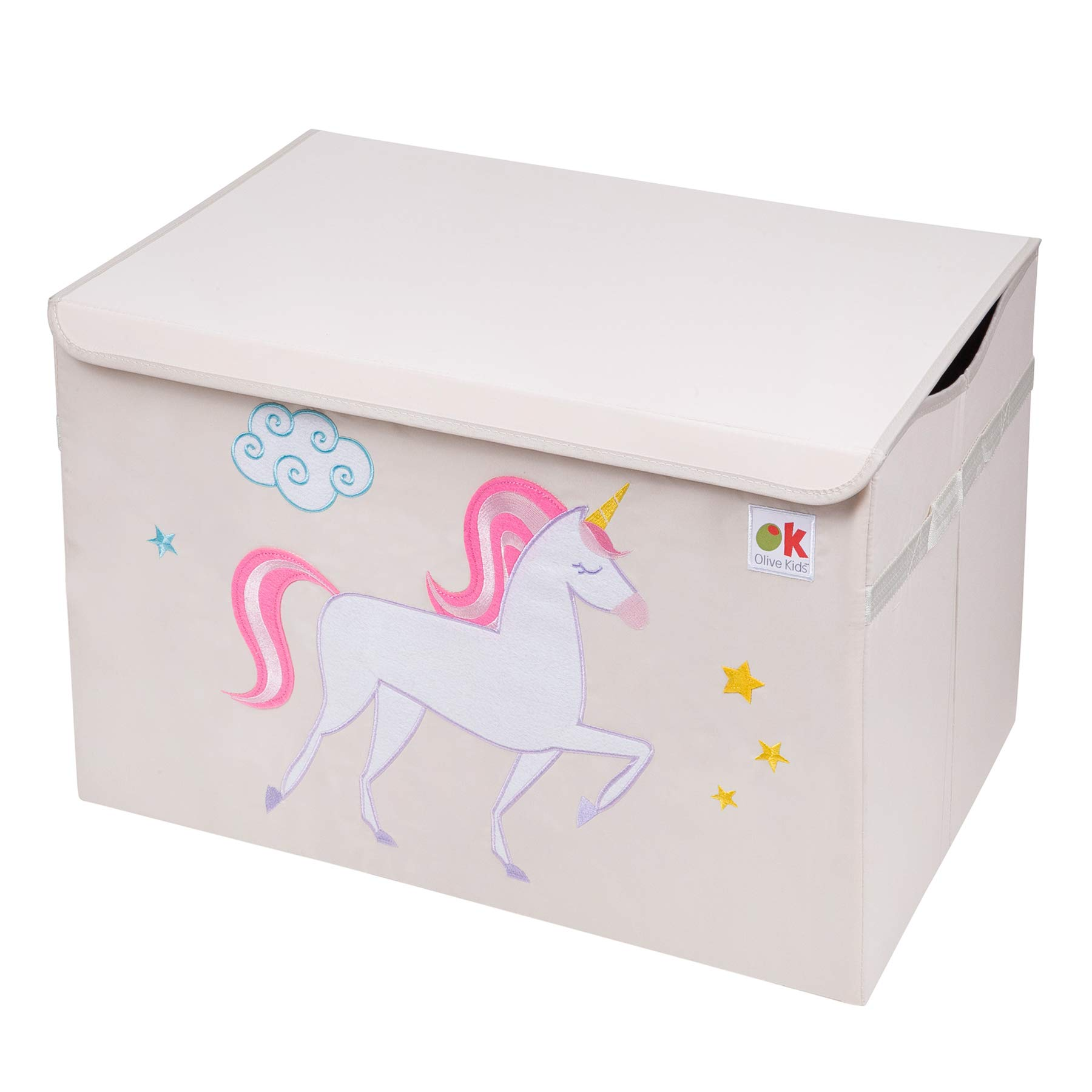 Olive Kids by Wildkin Toy Chest, Perfect for Playroom Organization, Measures 24 x 15 x 14 Inches, Coordinates with Other Room Décor – Unicorn