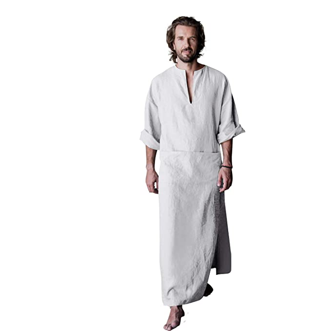 aa10c971ab347 7 VEILS Men's Linen Robe Casual Kaftan Cotton Thobe V Neck Long Gown Side  with Pockets Caftan