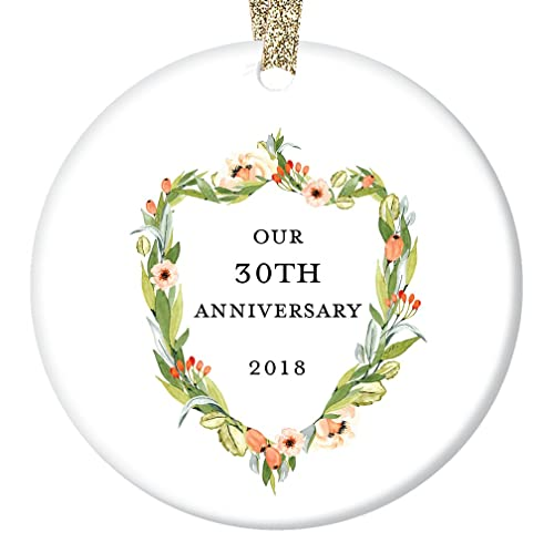 30 Years Wedding Anniversary Gifts.30th Anniversary Gifts Thirtieth Christmas Ornament 2018 30 Years Together Couple Husband Wife Love Wedding Anniversaries Ceramic Present Keepsake