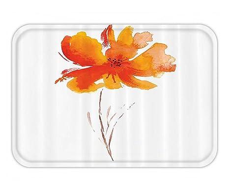 Beshowere Doormat Watercolor Flower Decor Set Single On Plain Clear Background Nature Inspired Romantic Art