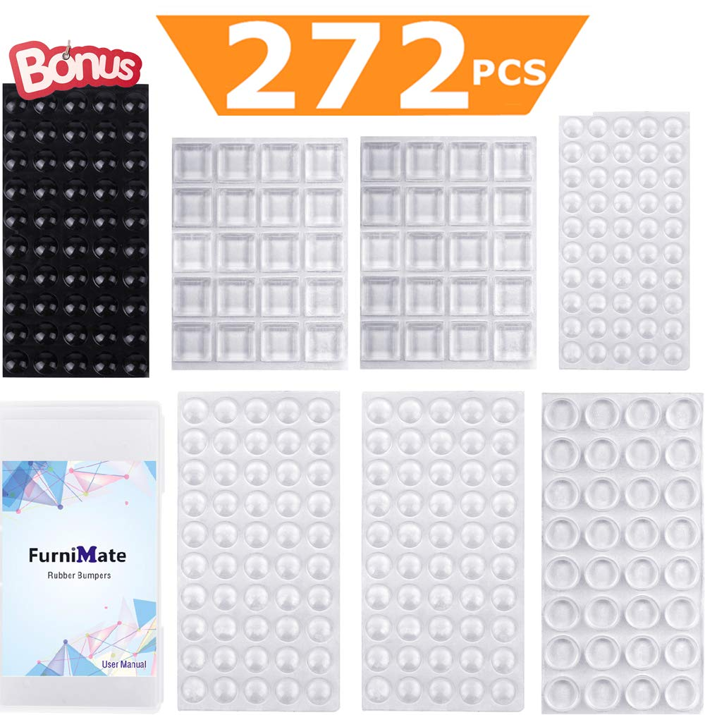 FurniMate Adhesive Cabinet Door Bumper 272 PCS Assorted Sound Dampening Clear and Black Rubber Feet Furniture Pads for Drawers Table Tops Laptop Cutting Boards Picture Frames in a Box