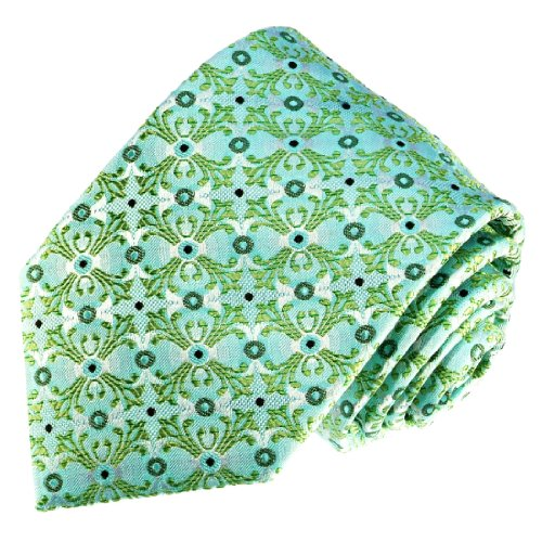 LORENZO CANA - Luxury Italian 100% Silk Tie Turquoise Green Floral Patterned - 84553 ()