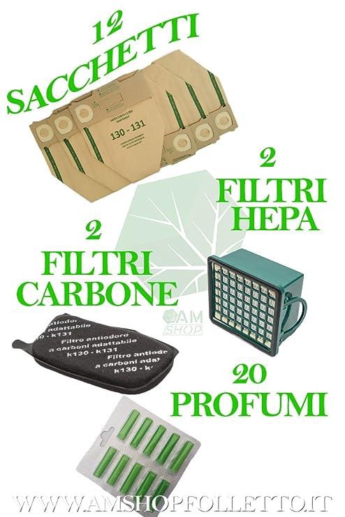 12 bolsas + 15 Ambientadores + 2 Filtros EPA + 2 Filtros olores para VK 130 131 Aspiradora Vorwerk Ambientadores
