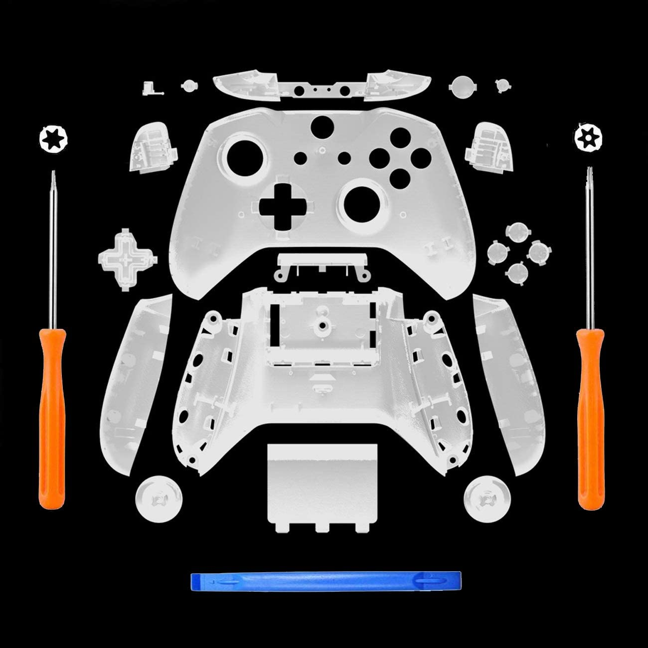 SN-RIGGOR Replacement Housing Full Shell Set Full Buttons Set Faceplates ABXY Buttons RB LB Bumpers for Xbox One S Slim Controller (3.5 mm Headphone Jack) S Controller Repair Parts (Clear)