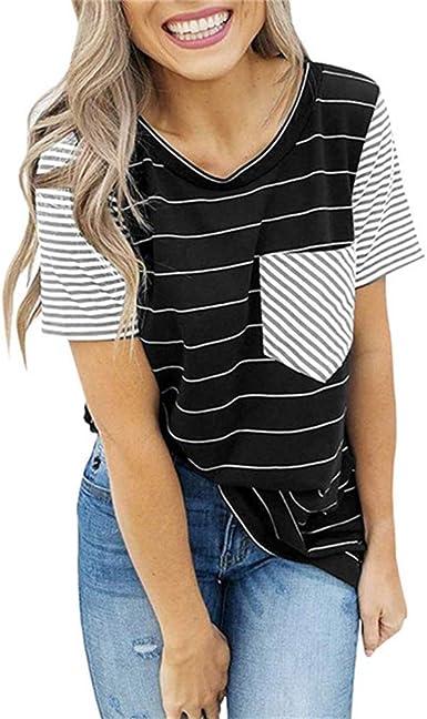 Camiseta Manga Corta Mujer Primavera Y Verano Rayas Bolsillo Costura Camisa Inferior: Amazon.es: Ropa y accesorios