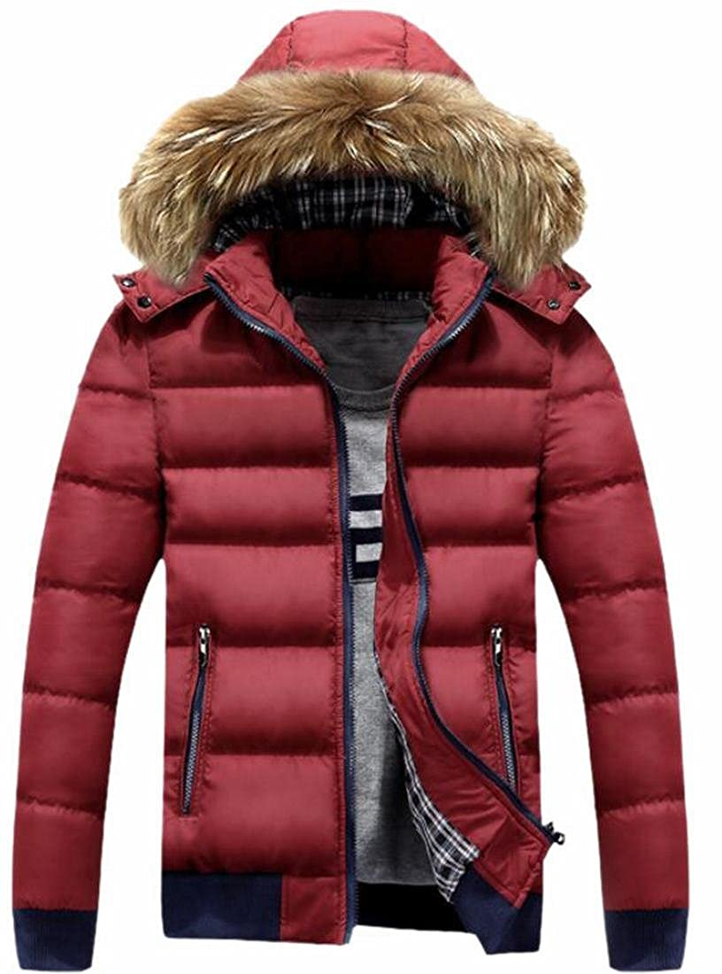 HTOOHTOOH Mens Thicken Warm Cotton Hooded Slim Fit Padded Coat Puffer Jacket Red XL