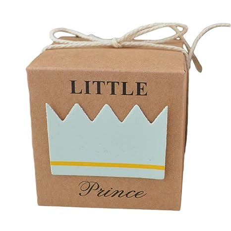 Cajas de regalo con dibujo de corona, de papel craft con hilo de yute,