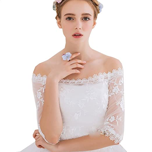 e98319807e1c kelaixiang Short Lace Bridal Wedding Jacket With 3/4 Sleeves (Custom made,  Ivory