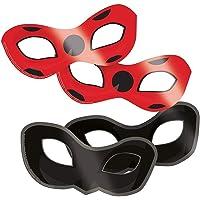 Amscan Miraculous-oogmaskers, 8 stuks, zwart-rood, eenheidsmaat