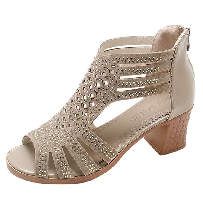 54c869b9 Sandalias para Mujer,ZARLLE Primavera Verano Señoras Mujeres Cuña Sandalias  Moda Hueco Zapatos de Tacón de Boca de Pescado Mujer: Amazon.es: Ropa y ...