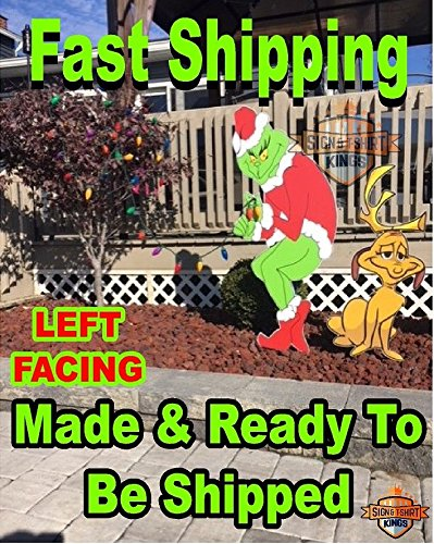 Grinch Stealing Christmas Lights & Max The Dog LEFT Facing Grinch Yard Art FAST SHIPPING]()
